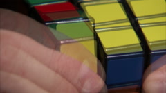 Extreme close up of a Rubik's Cube being solved. Stock Footage