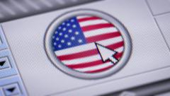 Press button with flag of USA. - stock footage