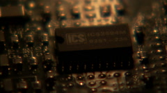 Lights flickering over a computer circuit board. Stock Footage