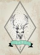 Vintage Dear logo. Design for t-shirt Stock Illustration