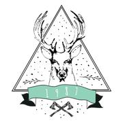 Vintage Dear logo. Design for t-shirt - stock illustration