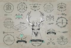 Vintage Dear logo. Design for t shirt - stock illustration