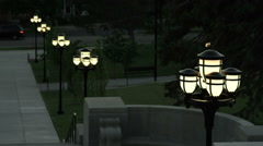 Lamp posts leading down the stairs of the Utah Capitol Building Stock Footage
