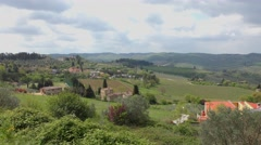 Beautiful Italian landscape in central Tuscany, in the famous Chianti wine area - stock footage