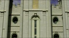 Tilt up the face of Salt Lake City Mormon temple Stock Footage