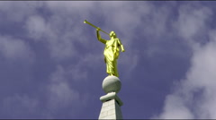 Close up of spire stonework and angel of Mormon temple - stock footage