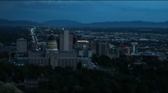 Downtown Salt Lake City at night Stock Footage