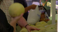 Row of people inspecting cantaloupes Stock Footage