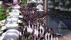 SALT LAKE CITY-C.2012 Crowds at a fair on public library grounds in Salt Lake Stock Footage