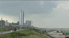 Beach-life on the boulevard of Zandvoort Stock Footage