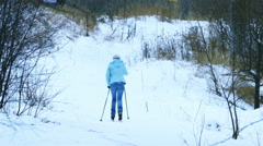 Skier Woman Training Skiing in Winter Park, Full HD Stock Footage