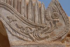 Makara sea serpent carving Stock Photos