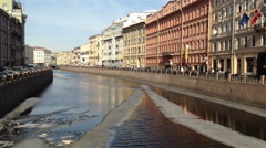 Floating Ice Debacle on Moyka River in St.Petersburg, Russia Stock Footage