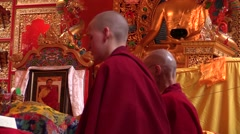 Monastery. pujas recited by young and senior Tibetan monks. Stock Footage