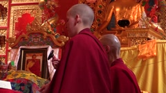 Monastery. pujas recited by two Tibetan monks. Prayer. Stock Footage