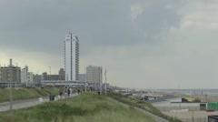Beach-life on the boulevard of Zandvoort Stock Footage