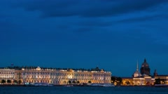 Evening view of the the State Hermitage Museum in St. Petersburg Stock Footage