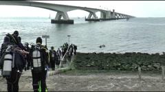 The zeeland brigde spans the easter scheldt ( oosterschelde) - stock footage