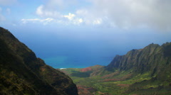 Time-lapse overlooking a valley of the Na Pali coast of Kauai, Hawaii. - stock footage