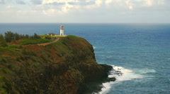Time-lapse of the Kilauea Lighthouse and ocean on Kauai, Hawaii. Stock Footage