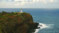 Time-lapse of the Kilauea Lighthouse and ocean on Kauai, Hawaii. - stock footage