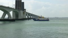 The Zeeland Bridge is the longest bridge in the Netherlands. Stock Footage