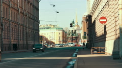 Saint Petersburg, Russia. Vosnesensky prospect leading to St. Isaac Square and Stock Footage