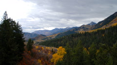 Landscape of mountains and valleys with autumn colors. Stock Footage