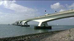 The zeeland brigde spans the easter scheldt ( oosterschelde) in Zeeland - stock footage
