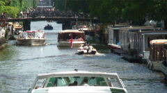 Boat traffic on a river in Europe. Stock Footage