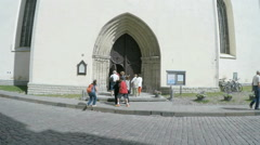 Tallinn in Estonia - St Olaf's Church tilt up tower Stock Footage