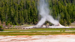 Time-lapse shot of people watching a geyser in Utah Stock Footage