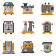 Coffee machines flat color icons - stock illustration