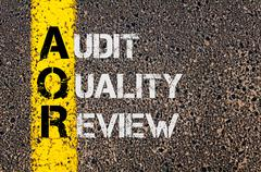 Business Acronym AQR as Audit Quality Review - stock photo