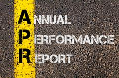 Business Acronym APR as Annual Performance Report - stock photo