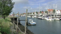 Ships are leaving Zierikzee Stock Footage