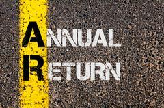 Business Acronym AR as Annual Return Stock Photos