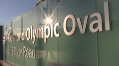 Close up of the Richmond Olympic Oval sign in Vancouver. Stock Footage