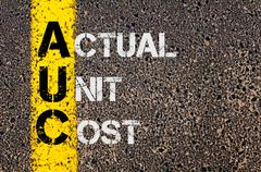 Business Acronym AUC as Actual Unit Cost - stock photo