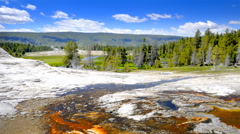 Time-lapse shot of the Geyser Valley at Yellowstone National Park in Wyoming Stock Footage