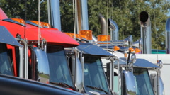 Detail of trucks at used truck dealership. Stock Footage