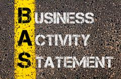 Business Acronym BAS as Business Activity Statement - stock photo