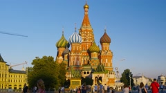 POV, walking on Red Square, St. Basil's Cathedral and Kremlin. Dolly, steadicam. Stock Footage
