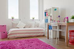 White room with pink carpet Stock Photos