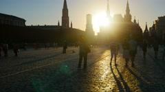 POV, walking on Red Square, Historical musem and Kremlin, sunset, steadicam. Stock Footage