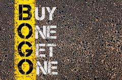 Business Acronym BOGO as Buy One Get One Stock Photos