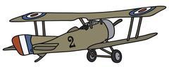 Vintage military biplane - stock illustration