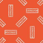 Orange CATACLYSM stamp pattern Stock Illustration