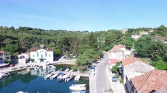 Aerial drone scene of harbor in Solta, Croatia. Stock Footage
