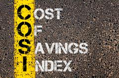 Business Acronym COSI as Cost Of Savings Index - stock photo